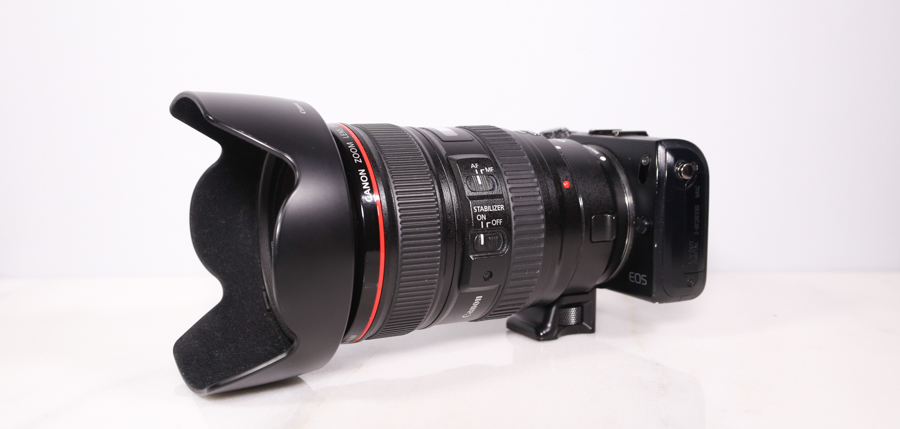 (pictured Canon EOS-M with 24-105mm F4 IS L and lense adapter)