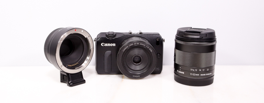 (pictured Canon EF-M to EF lens adapter | Canon EOS-M with 22mm F2 | Canon EF-M 11-22mm f4-5.6 IS)